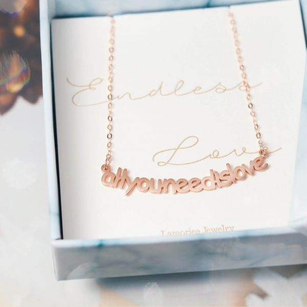 personalized name necklace rose gold plated sterling silver