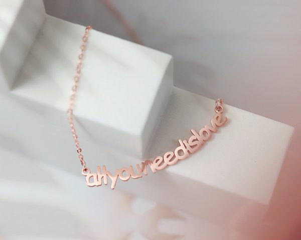smile curve name necklace sterling silver