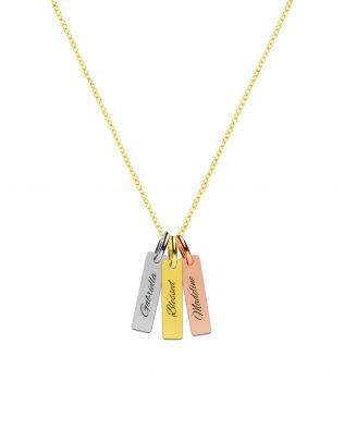 Personalized Tri-Color Vertical Bar Name Necklace