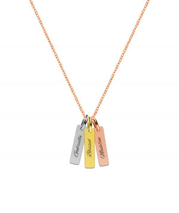 3 colour vertical bar- rose gold