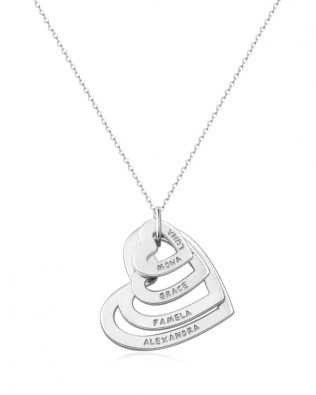 Personalized 4 Hearts Necklace Silver