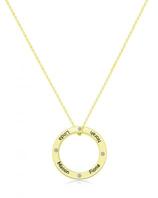 Personalized Ring and Birthstones Necklace Silver