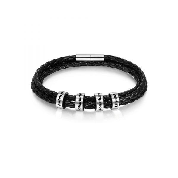 Personalized Family Braided Rope Name Bracelet Black