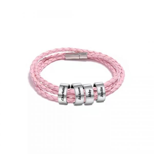 Personalized Family Braided Rope Name Bracelet Pink