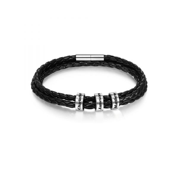 Personalized Friendship Braided Rope Name Bracelet Black