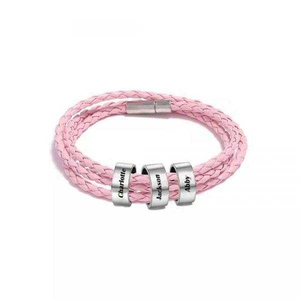 Personalized Friendship Braided Rope Name Bracelet Pink