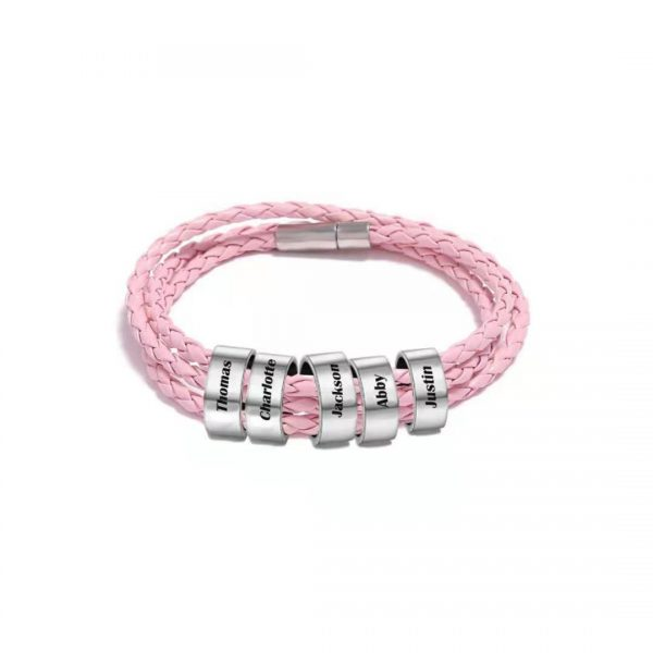 Personalized Lucky Braided Rope Name Bracelet Pink