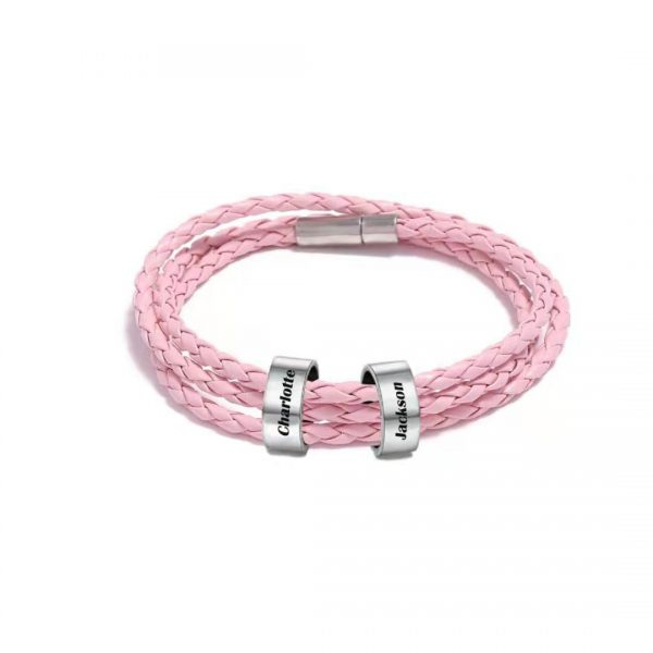 Personalized Romantic Braided Rope Name Bracelet Pink