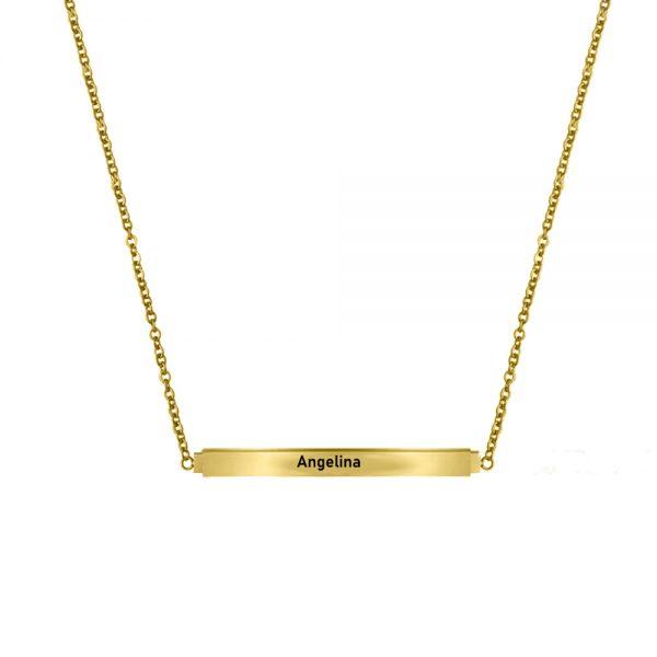 Personalized Secret Message Bar Name Necklace Gold