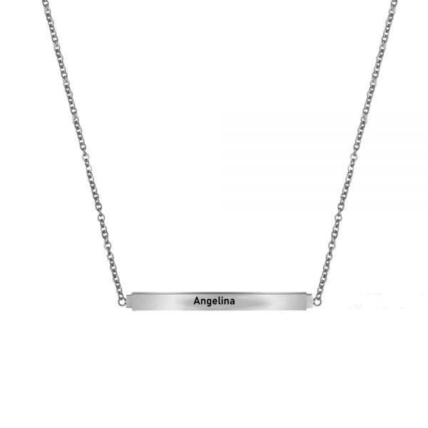 Personalized Secret Message Bar Name Necklace Platinum