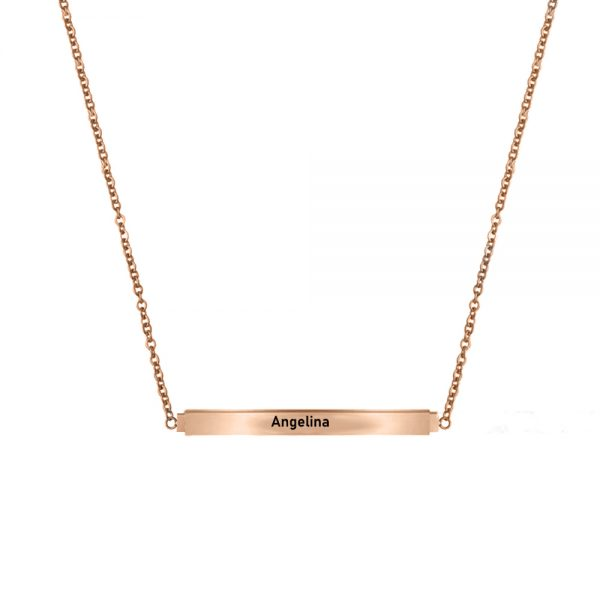 Personalized Secret Message Bar Name Necklace Rose Gold