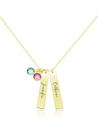 Name Bar with Three Birthstones Necklace Silver