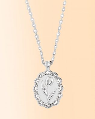Personalized Flower Coin Necklace Silver