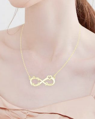 Heart Infinity Three Name Necklace Silver