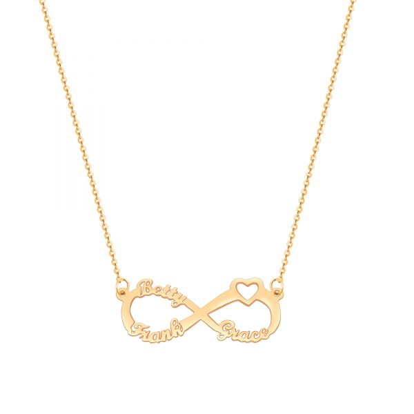 infinity heart name necklace with three name
