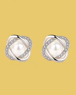 Julia Retro Diamond Pearl Earrings