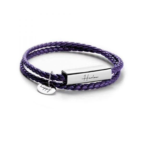 Personalized Disc Bar Name Bracelet Purple