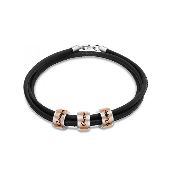 Personalized Double Layer Beads Name Bracelet Rose Gold