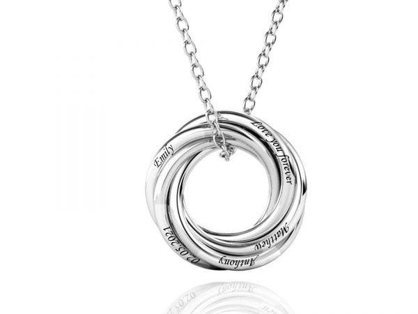 Personalized Five Russian Ring Necklace large size