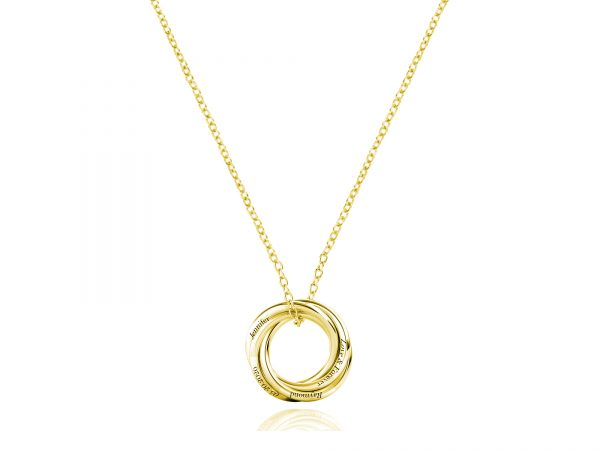 Personalized Four Russian Ring Necklace gold