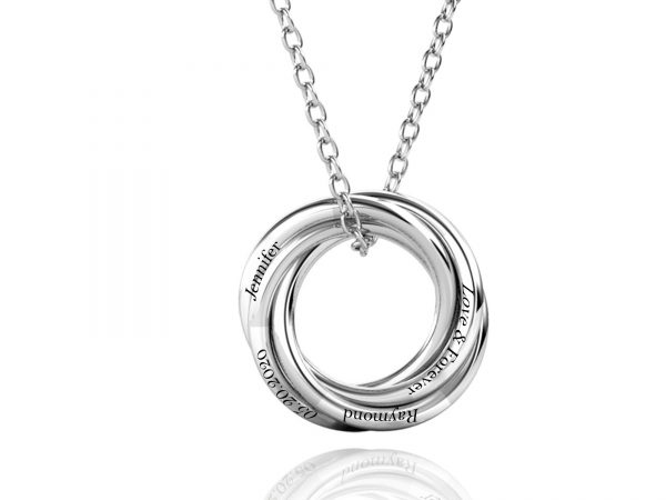 Personalized Four Russian Ring Necklace platinum large size