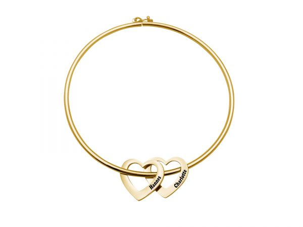 Personalized Heart-to-Heart Name Bracelet Gold 2