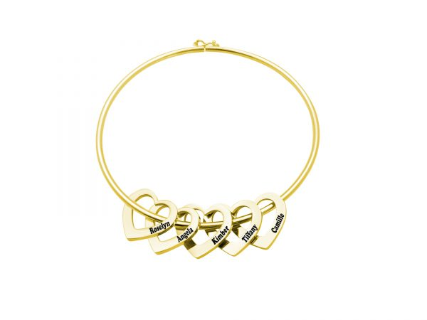 Personalized Heart-to-Heart Name Bracelet Gold 5