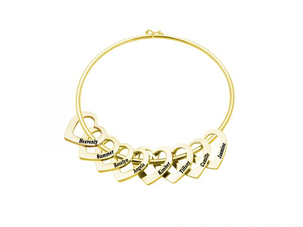 Personalized Heart-to-Heart Name Bracelet Gold 8
