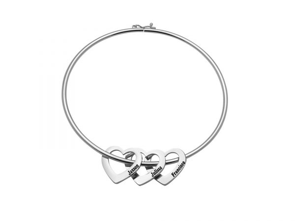 Personalized Heart-to-Heart Name Bracelet Platinum 3
