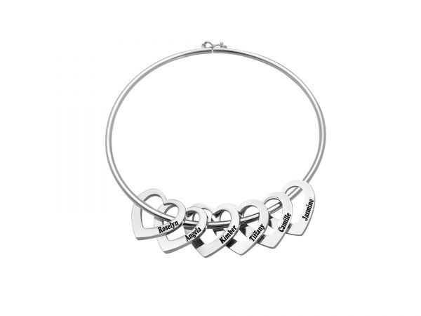 Personalized Heart-to-Heart Name Bracelet Platinum 6