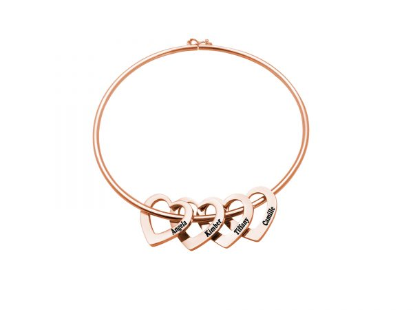 Personalized Heart-to-Heart Name Bracelet RoseGold 4