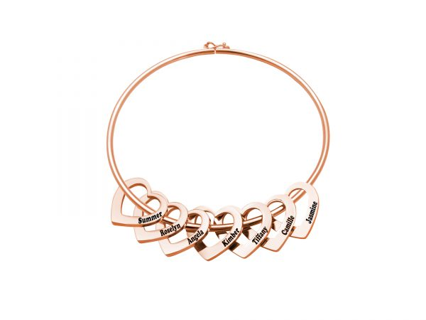 Personalized Heart-to-Heart Name Bracelet RoseGold 7