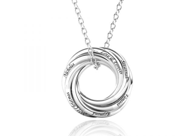 Personalized Six Russian Ring Necklace large size