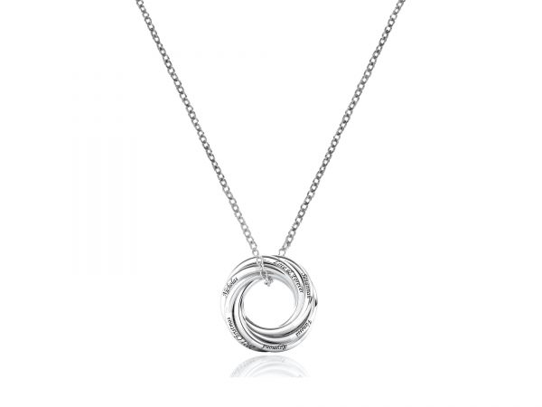 Personalized Six Russian Ring Necklace platinum