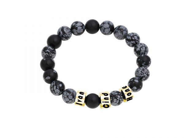 Personalized Snowflakes Obsidian Stone Name Bracelet Gold