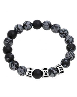 Personalized Snowflakes Obsidian Stone Bracelet