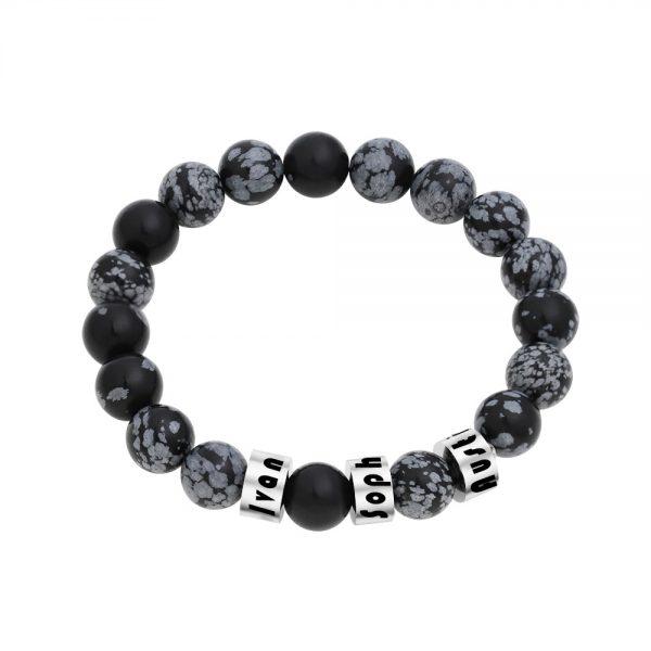 Personalized Snowflakes Obsidian Stone Name Bracelet Platinum