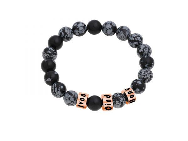 Personalized Snowflakes Obsidian Stone Name Bracelet RoseGold