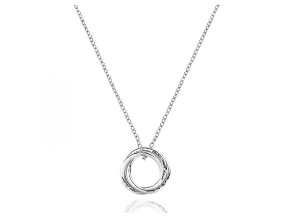 Personalized Three Russian Ring Necklace Platinum
