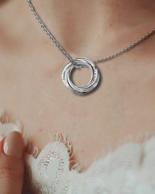 Personalized Five Russian Ring Necklace