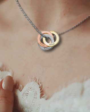 Personalized Lucky Tricolor Ring Necklace