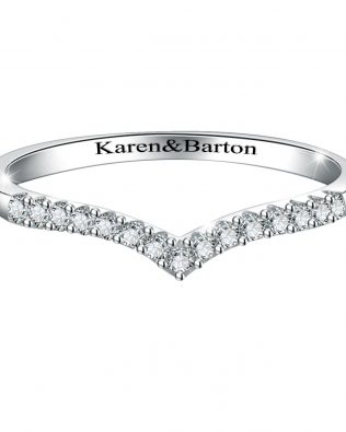 Wishbone Name Diamond Ring
