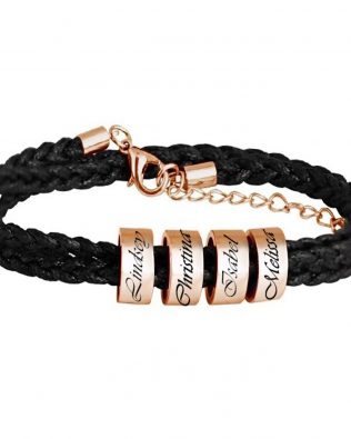 Personalized Four Beads Name Bracelet
