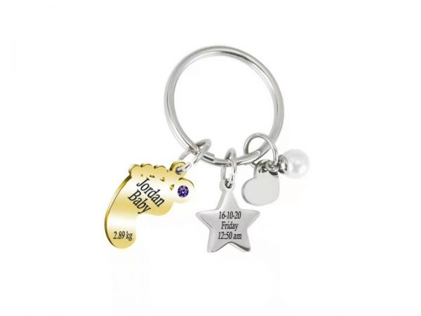 Personalized Baby Star Keychain gold
