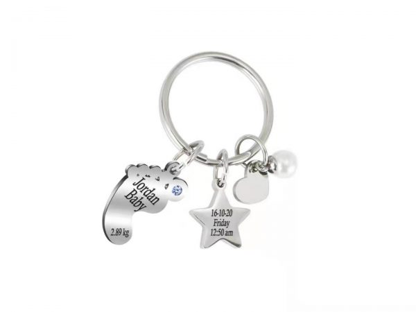Personalized Baby Star Keychain platinum