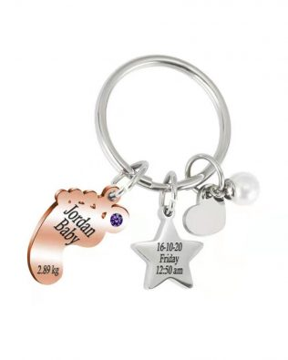 Personalized Baby Star Keychain