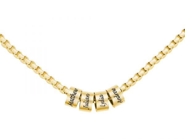 Personalized Man Beaded Necklace Gold