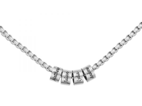 Personalized Man Beaded Necklace Platinum