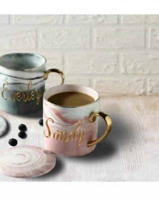 Personalized Marble Mug Set