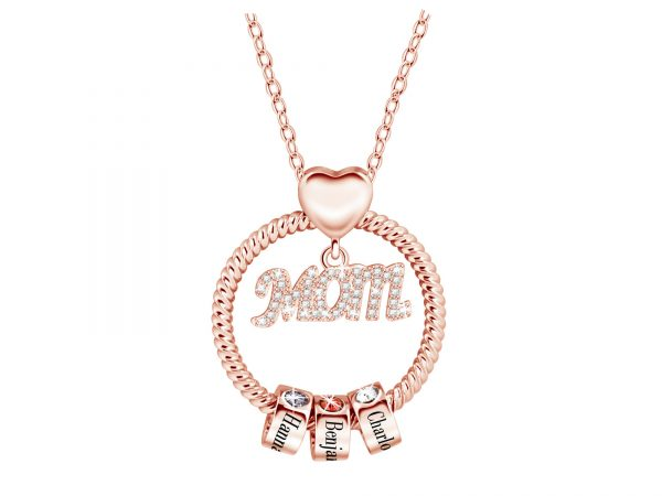 Personalized Super Mom Name Necklace rose gold